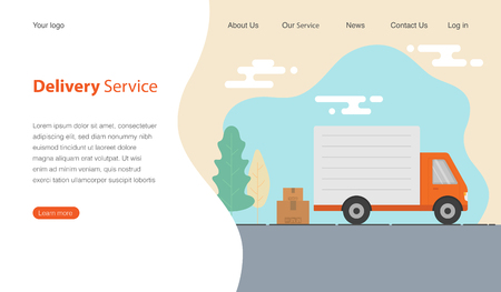 Website template design for delivery service company. Truck and cardboard boxes with fragile signs. Vector illustration. 일러스트