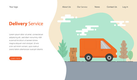 Website template design for delivery service company. Van and cardboard boxes with fragile signs. Vector illustration. 일러스트