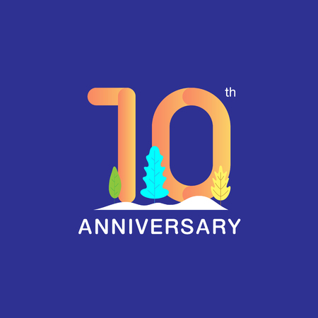 10 years anniversary celebration logotype. Multicolor number with modern leaf and snow background. Design for booklet, leaflet, magazine, brochure, poster, web, invitation or greeting card. Vector illustration.