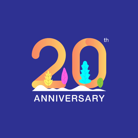 20 years anniversary celebration logotype. Multicolor number with modern leaf and snow background. Design for booklet, leaflet, magazine, brochure, poster, web, invitation or greeting card. Vector illustration.