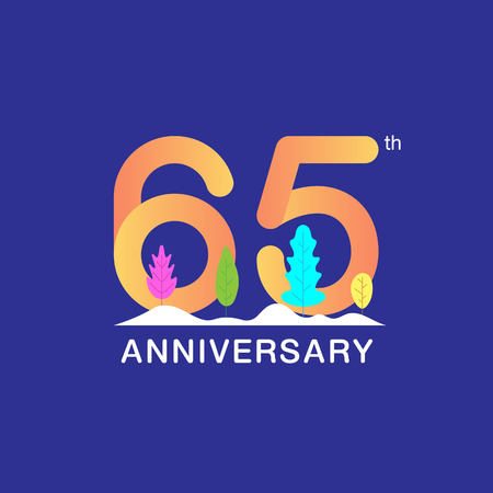 65 years anniversary celebration logotype. Multicolor number with modern leaf and snow background. Design for booklet, leaflet, magazine, brochure, poster, web, invitation or greeting card. Vector illustration.