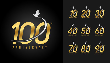 Set of anniversary logotype. Golden anniversary celebration with flying bird. Design for company profile, booklet, leaflet, magazine, brochure poster, web, invitation or greeting card. Vector illustra 일러스트