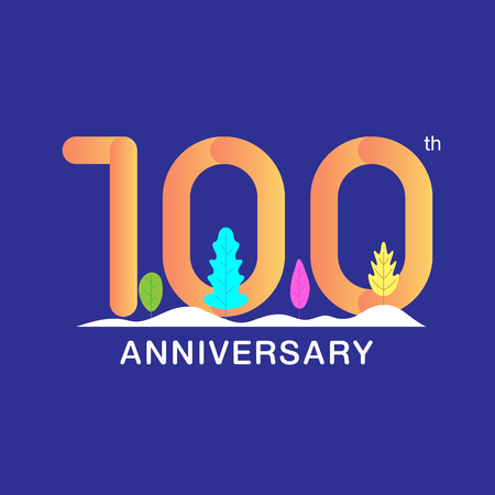 100 years anniversary celebration logotype. Multicolor number with modern leaf and snow background. Design for booklet, leaflet, magazine, brochure, poster, web, invitation or greeting card. Vector illustration.