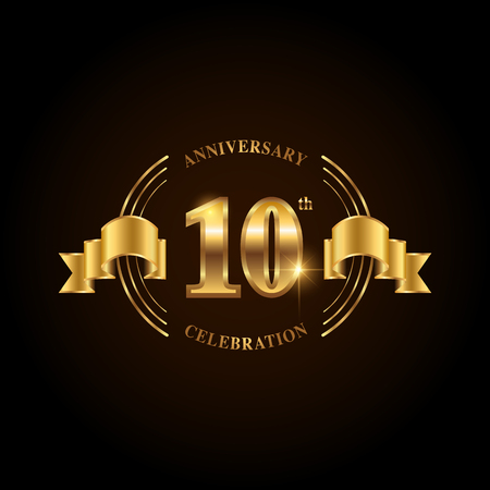 10 years anniversary celebration logotype. Golden anniversary emblem with ribbon. Design for booklet, leaflet, magazine, brochure, poster, web, invitation or greeting card. Vector illustration.