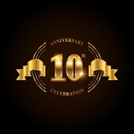 Logotipo de celebración de aniversario de 10 años. Emblema de aniversario de oro con cinta. Diseño de folleto, prospecto, revista, folleto, cartel, web, invitación o tarjeta de felicitación. Ilustración de vector.
