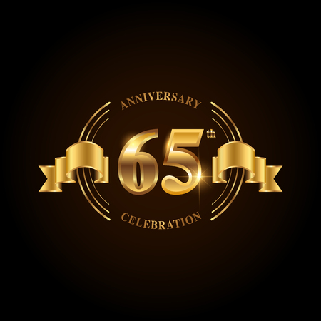 65 years anniversary celebration logotype. Golden anniversary emblem with ribbon. Design for booklet, leaflet, magazine, brochure, poster, web, invitation or greeting card. Vector illustration. Illustration