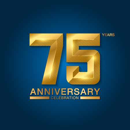 75 years anniversary celebration logotype. Golden anniversary emblem with ribbon. Design for booklet, leaflet, magazine, brochure, poster, web, invitation or greeting card. Vector illustration.