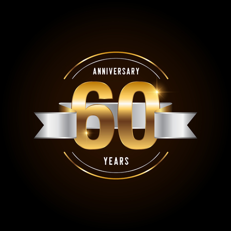60 years anniversary celebration logotype. Golden anniversary emblem with ribbon. Design for booklet, leaflet, magazine, brochure, poster, web, invitation or greeting card. Vector illustration. 일러스트