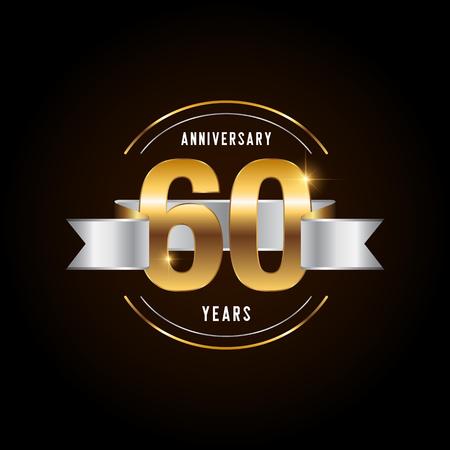 60 years anniversary celebration logotype. Golden anniversary emblem with ribbon. Design for booklet, leaflet, magazine, brochure, poster, web, invitation or greeting card. Vector illustration. Illustration