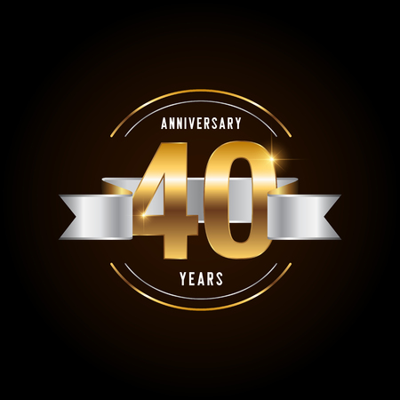 40 years anniversary celebration logotype. Golden anniversary emblem with ribbon. Design for booklet, leaflet, magazine, brochure, poster, web, invitation or greeting card. Vector illustration.