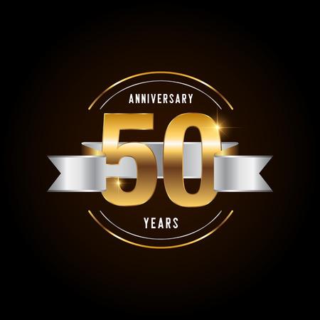 Logotype de célébration d'anniversaire de 50 ans. Emblème d'anniversaire d'or avec ruban. Conception de livret, dépliant, magazine, brochure, affiche, site Web, invitation ou carte de voeux. Illustration vectorielle.