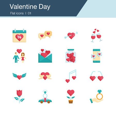 Valentine Day icons. Flat design. For presentation, graphic design, mobile application, web design, infographics, UI. Editable Stroke. Vector illustration. Vectores