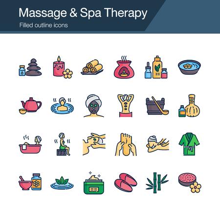 Massage and Spa Therapy icons. Filled outline design. For presentation, graphic design, mobile application, web design, infographics, UI. Editable Stroke. Vector illustration. Illustration