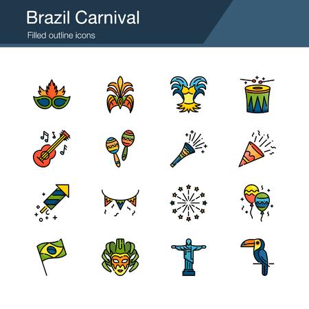 Brazil Carnival icons. Filled outline design. For presentation, graphic design, mobile application, web design, infographics, UI. Vector illustration. Çizim