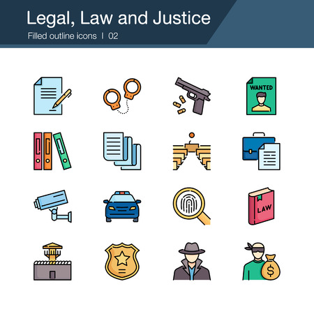 Legal, Law and Justice icons. Filled outline design. For presentation, graphic design, mobile application, web design, infographics, UI. Vector illustration.
