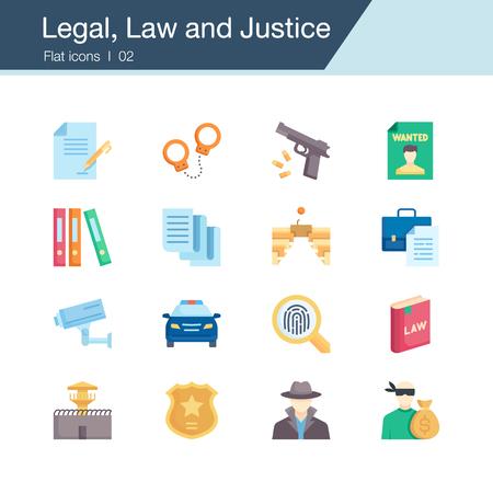 Iconos legales, de derecho y de justicia. Diseño plano. Para presentación, diseño gráfico, aplicaciones móviles, diseño web, infografías, UI. Ilustración de vector. Ilustración de vector