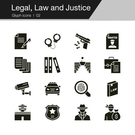 Icone legali, di diritto e di giustizia. Disegno del glifo. Per presentazione, progettazione grafica, applicazione mobile, web design, infografica, interfaccia utente. Illustrazione vettoriale.