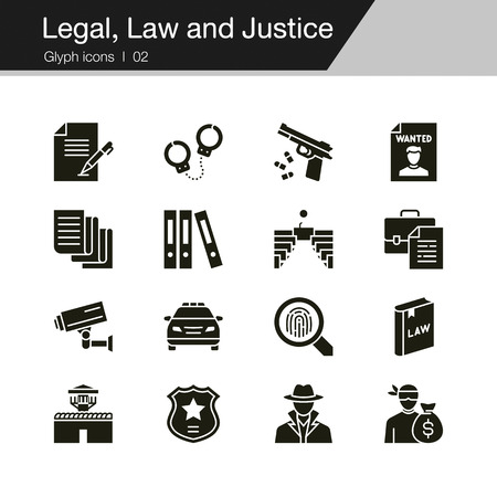 Legal, Law and Justice icons. Glyph design. For presentation, graphic design, mobile application, web design, infographics, UI. Vector illustration.