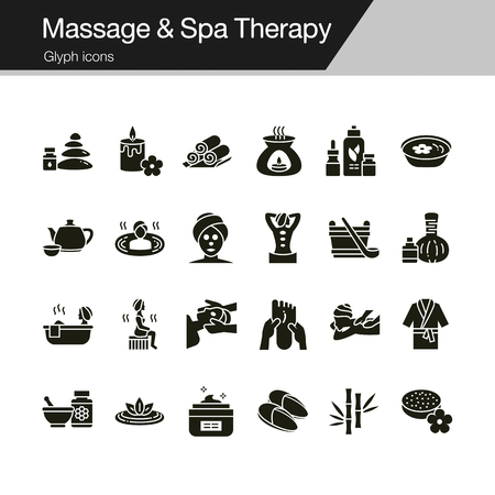 Massage and Spa Therapy icons. Glyph design. For presentation, graphic design, mobile application, web design, infographics, UI. Vector illustration. Standard-Bild - 124748793