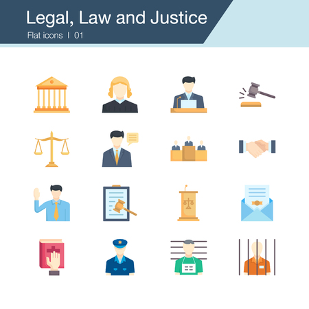 Legal, Law and Justice icons. Flat design. For presentation, graphic design, mobile application, web design, infographics, UI. Vector illustration.