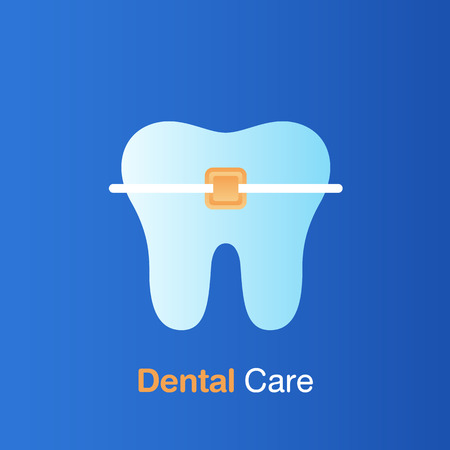 Dental care concept. Braces care, good hygiene tooth, prevention, check up and dental treatment. Vector illustration.