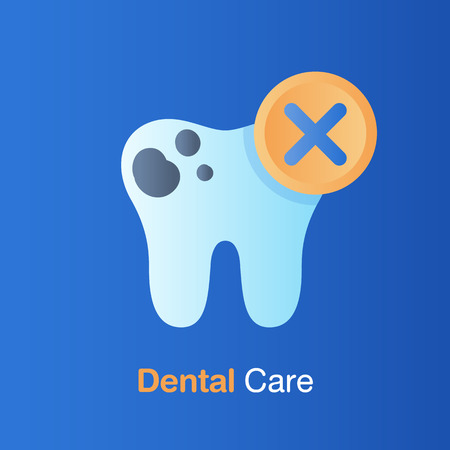 Dental care concept. Bad hygiene teeth, prevention, check up and dental treatment. Vector illustration.