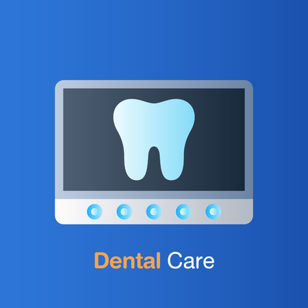 Dental care concept. Tooth X-ray, prevention, check up and dental treatment. Vector illustration.
