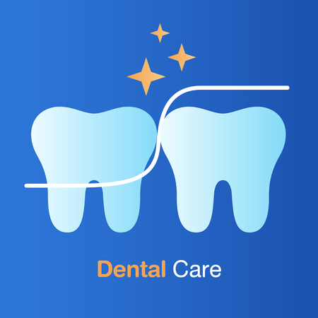 Dental care concept. Dental floss, good hygiene tooth, prevention, check up and dental treatment. Vector illustration.