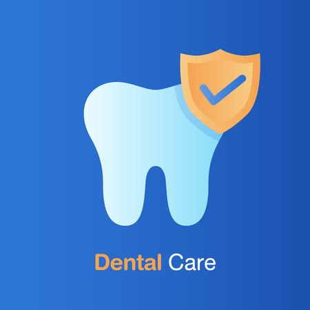 Dental care concept. Good hygiene tooth, prevention, check up and dental treatment. Vector illustration.