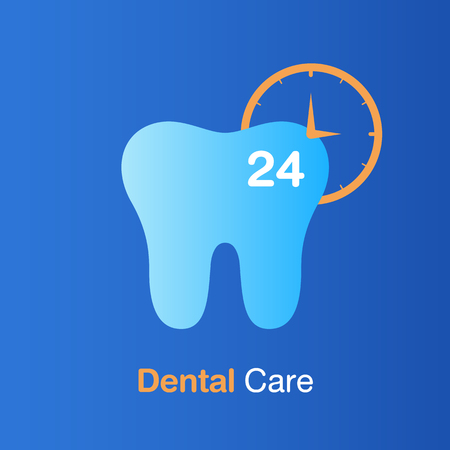 Dental care concept. Good hygiene tooth, prevention 24 hrs, check up and dental treatment. Vector illustration.