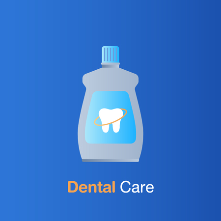 Dental care concept. Mouthwash, dental prevention and treatment. Vector illustration.