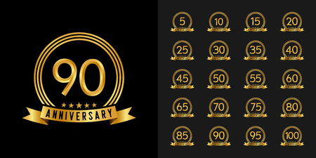 Conjunto de logotipo de aniversario. Diseño de emblema de celebración de aniversario de oro para perfil de empresa, folleto, folleto, revista, cartel de folleto, web, invitación o tarjeta de felicitación. Ilustración de vector. Logos