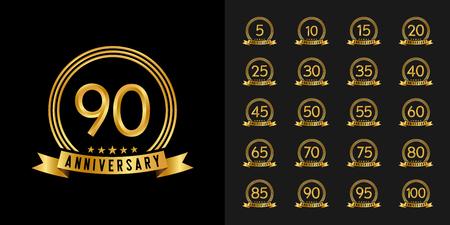 Set of anniversary logotype. Golden anniversary celebration emblem design for company profile, booklet, leaflet, magazine, brochure poster, web, invitation or greeting card. Vector illustration. Logó