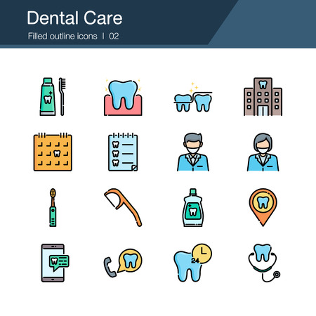Dental care, prevention, check up and dental treatment icons. Filled outline design. For presentation, graphic design, mobile application, infographics, UI. Vector illustration.