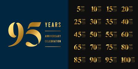 Zestaw rocznicowego logotypu. Projekt godła obchody złotej rocznicy dla profilu firmy, broszury, ulotki, czasopisma, broszury, strony internetowej, zaproszenia lub karty z pozdrowieniami. Ilustracja wektorowa. Logo
