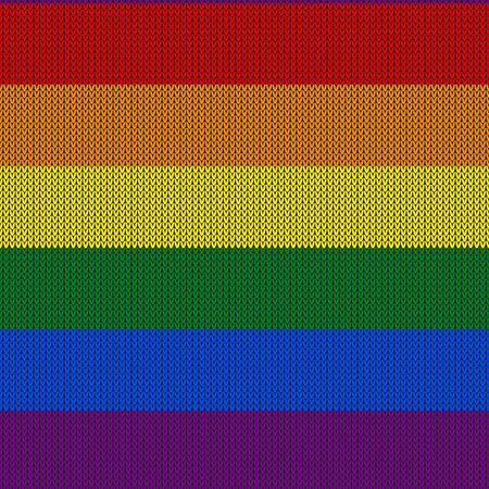 LGBTQ color abstract knitted pattern. Rainbow color seamless pattern. Design for sweater, scarf, comforter or clothes texture. Vector illustration 일러스트