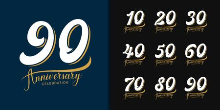 Set of anniversary logotype. Premium  anniversary celebration emblem design for company profile, booklet, leaflet, magazine, brochure, web, banner, invitation or greeting card. Vector illustration. 일러스트