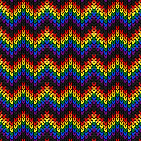 Rainbow color seamless pattern. Design for sweater, scarf, comforter or clothes texture. Vector illustration