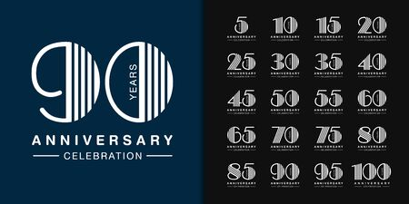 Set of anniversary logotype. Modern anniversary celebration icons design for company profile, booklet, leaflet, magazine, brochure poster, web, invitation or greeting card. Vector illustration.