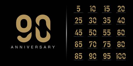 Set of premium anniversary logotype. Golden anniversary celebration emblem design for company profile, booklet, leaflet, magazine, brochure, web, banner, invitation or greeting card. Vector illustration.