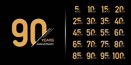 Set of premium anniversary logotype. Golden anniversary celebration emblem design for company profile, leaflet, magazine, brochure, web, banner, invitation or greeting card. 矢量图像