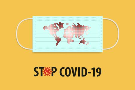 Stop Covid-19 Coronavirus concept. Medical mask with red dot inform world map. Novel Coronavirus (2019-nCoV). World Health organization WHO introduced new official name for Coronavirus disease named COVID-19. Vector illustration.