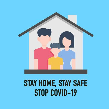 Stay home, Stay safe, Save lives signage vector design concept. Stop Covid-19 Coronavirus Novel Coronavirus (2019-nCoV), protect yourself and help prevent spreading the virus to others. Vector illustration.