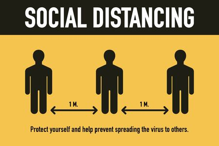 Social distancing, Stop Covid-19 Coronavirus concept. Novel Coronavirus (2019-nCoV). protect yourself and help prevent spreading the virus to others. Signage vector design. Vector illustration.