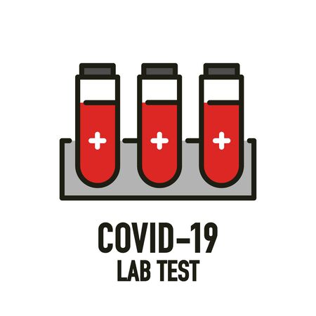 Covid-19 lab test icon design concept. Novel Coronavirus (2019-nCoV). World Health organization WHO introduced new official name for Coronavirus disease named COVID-19. Vector illustration.