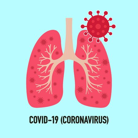 Stop Covid-19. Coronavirus infected human lungs. Coronavirus outbreak to lungs. Novel Coronavirus (2019-nCoV). Vector illustration. 矢量图像