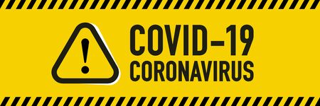 Stop Covid-19 Coronavirus quarantine concept. Yellow and black stripes collections for protect yourself and help prevent spreading the virus to others. Novel Coronavirus (2019-nCoV). Vector illustration.