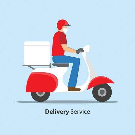 Delivery during Covid-19 Coronavirus concept. Man with face mask riding scooter motorcycle for delivery. Vector illustration.