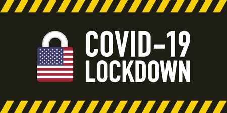 USA covid-19 lockdown for quarantine concept. Stop Covid-19 Coronavirus Novel Coronavirus (2019-nCoV). Vector illustration.