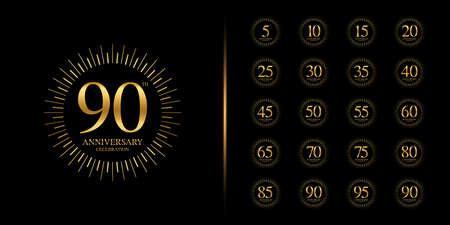 Set of premium anniversary . Golden anniversary celebration emblem design for company profile, leaflet, magazine, brochure, web, banner, invitation or greeting card. Vector illustration.